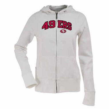 San Francisco 49ers Applique Womens Zip Front Hoody Sweatshirt (Color: White)