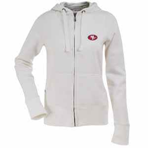 San Francisco 49ers Womens Zip Front Hoody Sweatshirt (Color: White) - X-Large