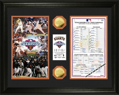 2012 World Series Champions Line UP Card Gold Coin Photo Mint