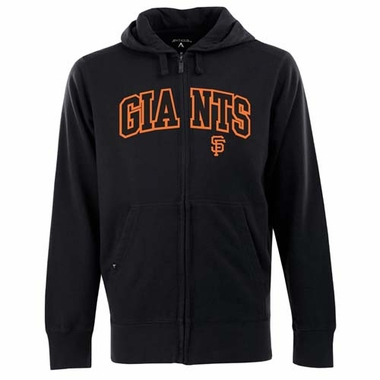 San Francisco Giants Mens Applique Full Zip Hooded Sweatshirt (Color: Black)