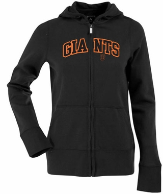 San Francisco Giants Applique Womens Zip Front Hoody Sweatshirt (Team Color: Black)