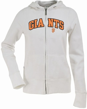 San Francisco Giants Applique Womens Zip Front Hoody Sweatshirt (Color: White)