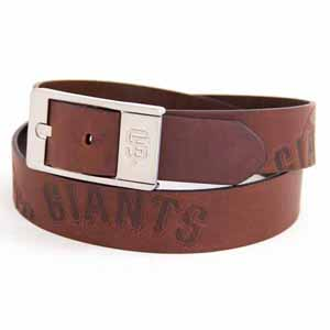 San Francisco Giants Brown Leather Brandished Belt - 34 Waist
