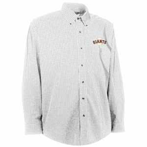 San Francisco Giants Mens Esteem Check Pattern Button Down Dress Shirt (Color: White) - Large