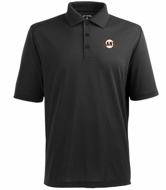 San Francisco Giants Mens Pique Xtra Lite Polo Shirt (Color: Black)