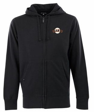 San Francisco Giants Mens Signature Full Zip Hooded Sweatshirt (Team Color: Black)