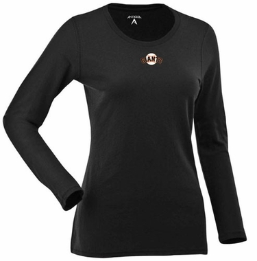 San Francisco Giants Womens Relax Long Sleeve Tee (Team Color: Black)