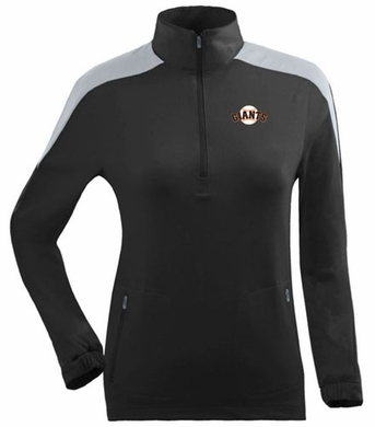 San Francisco Giants Womens Succeed 1/4 Zip Performance Pullover (Team Color: Black)