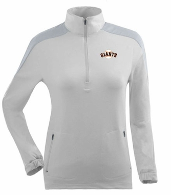 San Francisco Giants Womens Succeed 1/4 Zip Performance Pullover (Color: White)