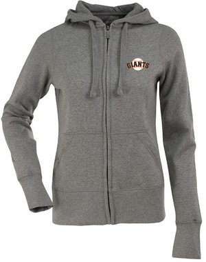 San Francisco Giants Womens Zip Front Hoody Sweatshirt (Color: Gray)