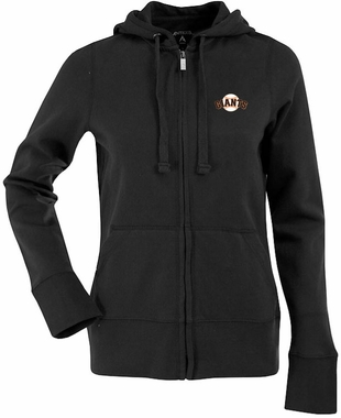 San Francisco Giants Womens Zip Front Hoody Sweatshirt (Team Color: Black)