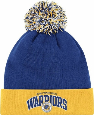 San Francisco Warriors Arched Logo Vintage Cuffed Pom Hat