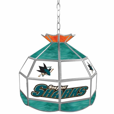 San Jose Sharks 16 Inch Diameter Stained Glass Pub Light