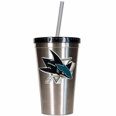 San Jose Sharks 16oz Stainless Steel Insulated Tumbler with Straw
