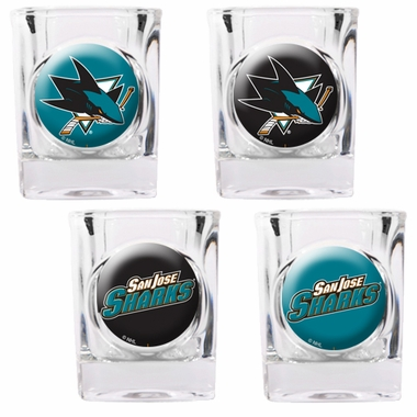 San Jose Sharks 4 Piece Assorted Shot Glass Set