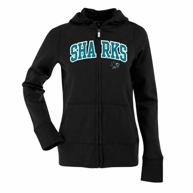 San Jose Sharks Applique Womens Zip Front Hoody Sweatshirt (Team Color: Black)
