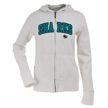 San Jose Sharks Applique Womens Zip Front Hoody Sweatshirt (Color: White)