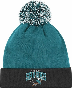 San Jose Sharks Arched Logo Vintage Cuffed Pom Hat