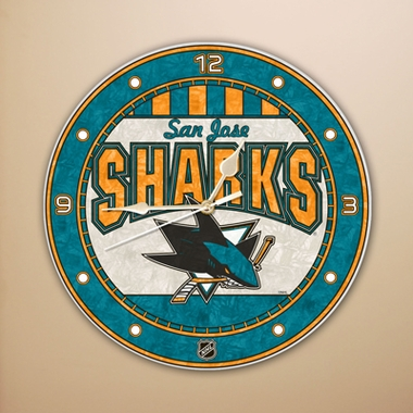 San Jose Sharks Art Glass Clock