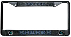 San Jose Sharks Black Metal License Plate Holder