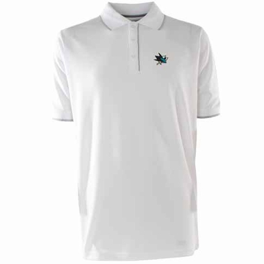 San Jose Sharks Mens Elite Polo Shirt (Color: White)
