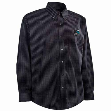 San Jose Sharks Mens Esteem Button Down Dress Shirt (Team Color: Black)
