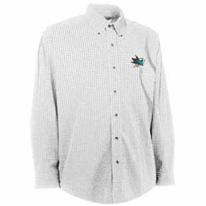 San Jose Sharks Mens Esteem Check Pattern Button Down Dress Shirt (Color: White) - XX-Large
