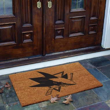 San Jose Sharks Flocked Coir Doormat