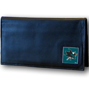 San Jose Sharks Leather Checkbook Cover (F)
