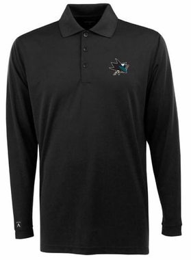 San Jose Sharks Mens Long Sleeve Polo Shirt (Color: Black)