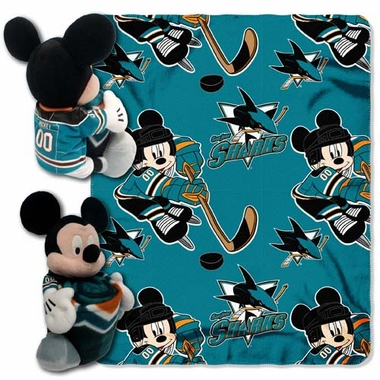 San Jose Sharks Mickey Hugger with Small Fleece Throw