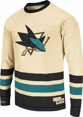San Jose Sharks Mitchell & Ness NHL Open Ice Vintage Long Sleeve Jersey