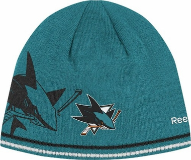 San Jose Sharks Oversized Logo Reversible Cuffless Knit Player Hat