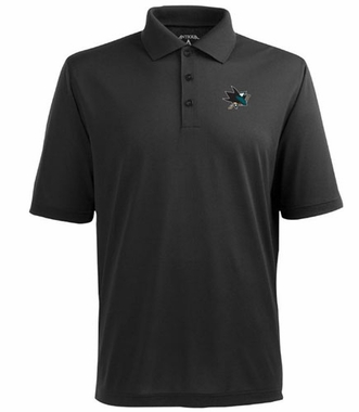San Jose Sharks Mens Pique Xtra Lite Polo Shirt (Team Color: Black)