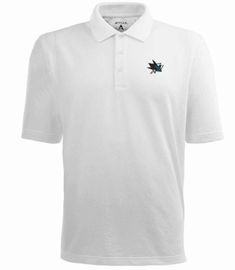 San Jose Sharks Mens Pique Xtra Lite Polo Shirt (Color: White)