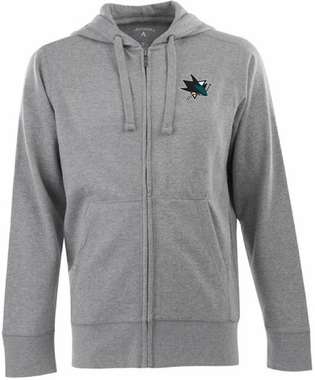 San Jose Sharks Mens Signature Full Zip Hooded Sweatshirt (Color: Gray)