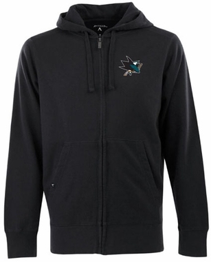 San Jose Sharks Mens Signature Full Zip Hooded Sweatshirt (Team Color: Black)