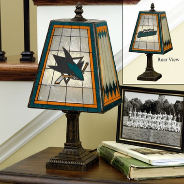 San Jose Sharks Small Art Glass Lamp