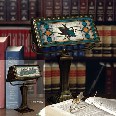 San Jose Sharks Stained Glass Bankers Lamp