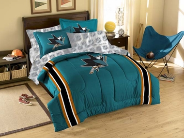 San Jose Sharks Twin Comforter and Shams Set