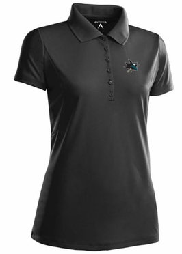 San Jose Sharks Womens Pique Xtra Lite Polo Shirt (Team Color: Black)