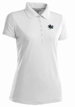 San Jose Sharks Womens Pique Xtra Lite Polo Shirt (Color: White)