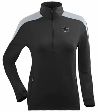 San Jose Sharks Womens Succeed 1/4 Zip Performance Pullover (Team Color: Black)