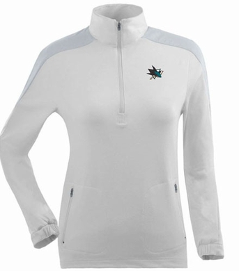 San Jose Sharks Womens Succeed 1/4 Zip Performance Pullover (Color: White)