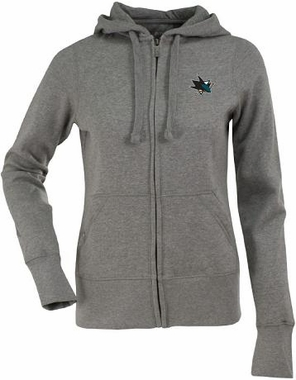 San Jose Sharks Womens Zip Front Hoody Sweatshirt (Color: Gray)