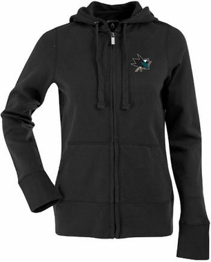 San Jose Sharks Womens Zip Front Hoody Sweatshirt (Team Color: Black)