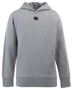San Jose Sharks YOUTH Boys Signature Hooded Sweatshirt (Color: Gray) - Large