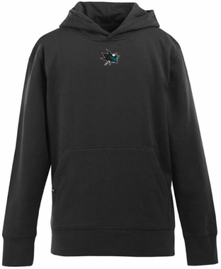 San Jose Sharks YOUTH Boys Signature Hooded Sweatshirt (Team Color: Black)