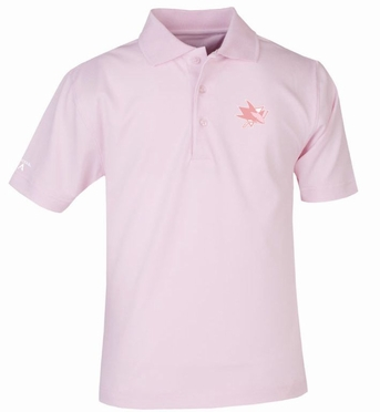San Jose Sharks YOUTH Unisex Pique Polo Shirt (Color: Pink)