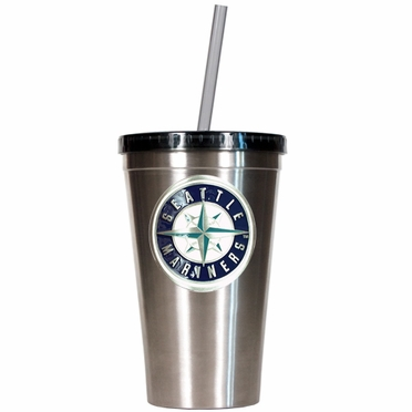 Seattle Mariners 16oz Stainless Steel Insulated Tumbler with Straw